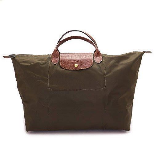 LONGCHAMP手提包短把 購物 拉鍊 摺疊 購物包1624 褐灰 100%真品聖誕節禮物