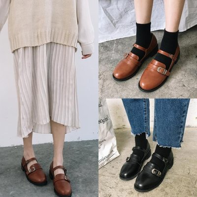 【蘑菇小隊】韓國甜美春季新款復古圓頭女學生娃娃休閒單鞋小皮鞋-MG27469