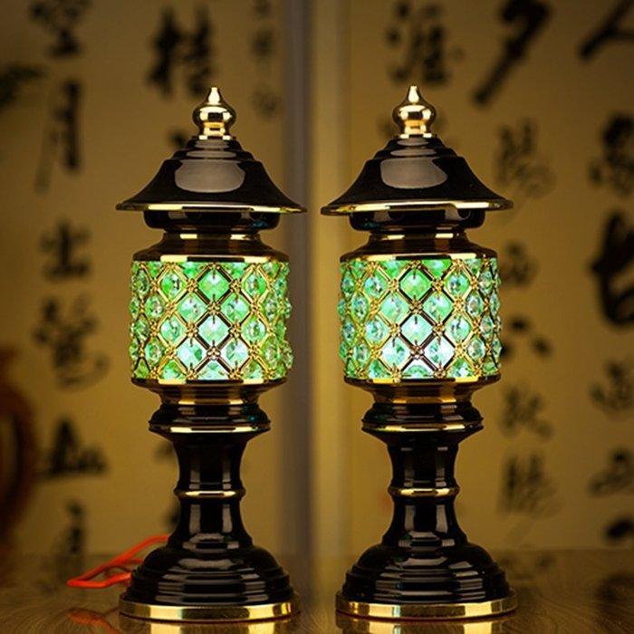 【古韻之家】單只價格 用燈佛教用品靜修閣蓮花燈水晶LED神射燈供佛燈供神燈佛像神像