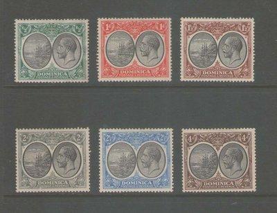 【雲品】多米尼加Dominica 1923 Sc 65,7,9,70,2,5 MH 庫號#BF502 65588