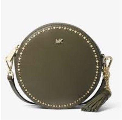 MICHAEL KORS Canteen 金色鉚釘綴飾皮革流蘇綴飾立體斜背小圓包-中