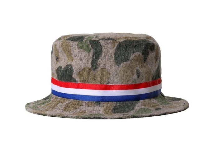 { POISON } LESS CAMO BUCKET HAT 洗舊迷彩撞色織帶 OUTDOOR筒型漁夫帽