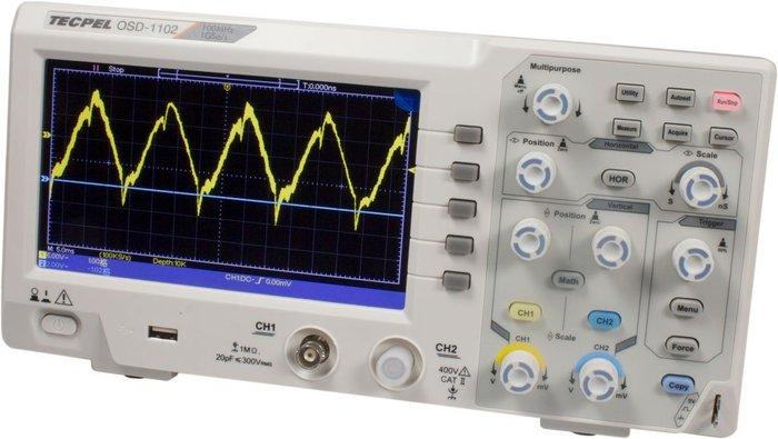 TECPEL 泰菱 》OSD-1102 100MHz 示波器 雙通道 取樣1GS/s 10K記憶  螢幕7吋 刷卡