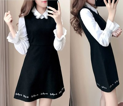 GOGO SHOP☆╭韓版新款 娃娃領 荷葉長袖襯衫 +無袖連衣裙套裝【Y1518】S~XL吊帶裙 背心裙A字裙