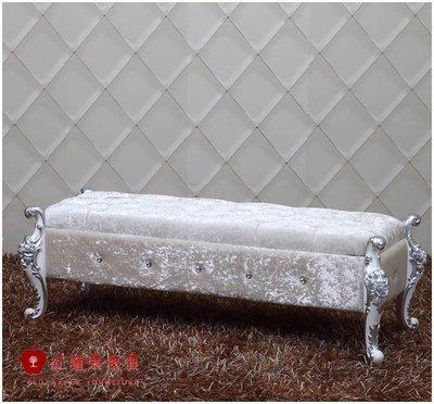 [紅蘋果傢俱]CT 新古典 精品床尾椅 絨布 金銀箔 別墅 高檔 沙發椅 床尾椅
