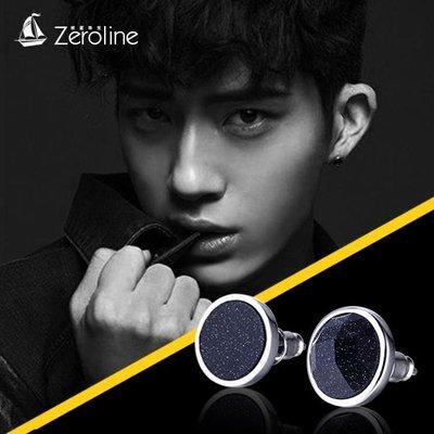 耳釘 925銀男士耳釘 單只藍砂石韓國個性潮男日韓時尚簡約黑色耳飾耳環