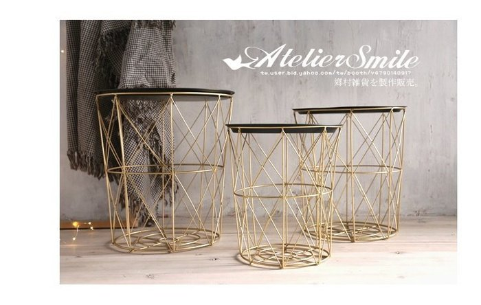 [ Atelier Smile ] 鄉村雜貨  北歐風 簡約金色幾何 鐵線茶几 邊桌 INS 手工 # 大 (現+預)