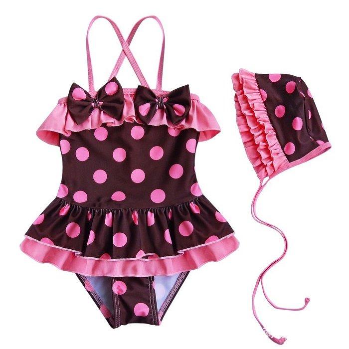 女童肩帶連身二件式蝴蝶結滾邊荷葉邊波點泳衣泳裝帶小帽【K3】
