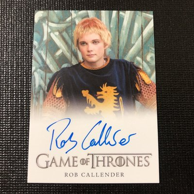 【A301】ROB CALLENDER 2018 Game of Thrones 權力遊戲 簽名卡