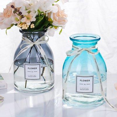 歐式花瓶簡約漸變色小圓口玻璃花瓶透明歐式水培植物花瓶裝飾客廳插花擺件