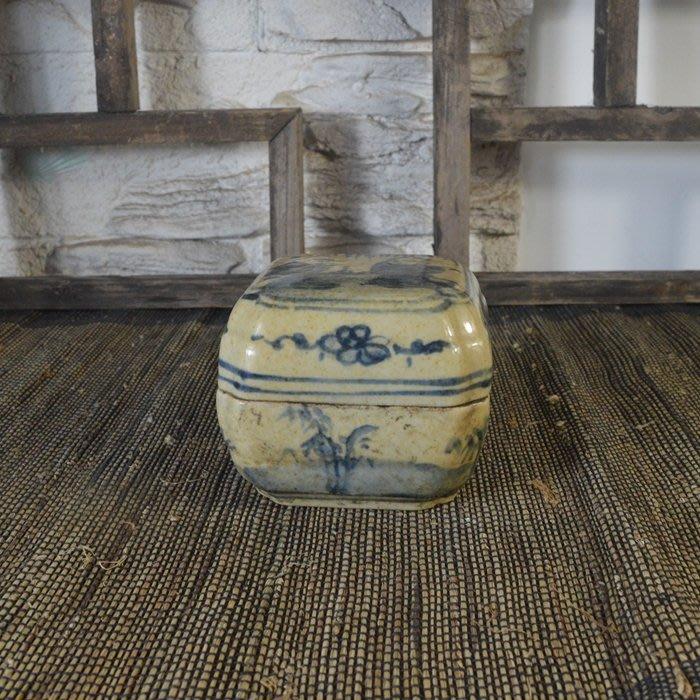 百寶軒 仿古瓷器復古做舊民國風格手繪青花人物紋印泥盒古玩收藏品 ZK1172
