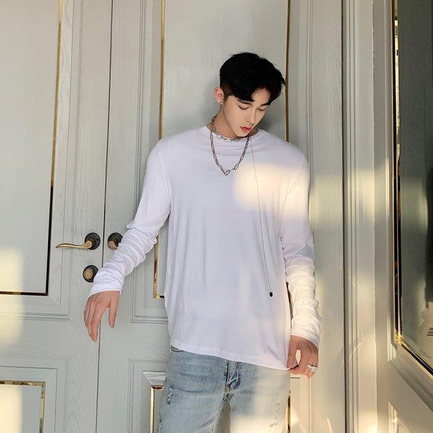 FINDSENSE 2019 秋季上新 G19 純色圓領疊袖打底衫簡約套頭長袖男T 上衣 長袖T恤 素面T 打底衫