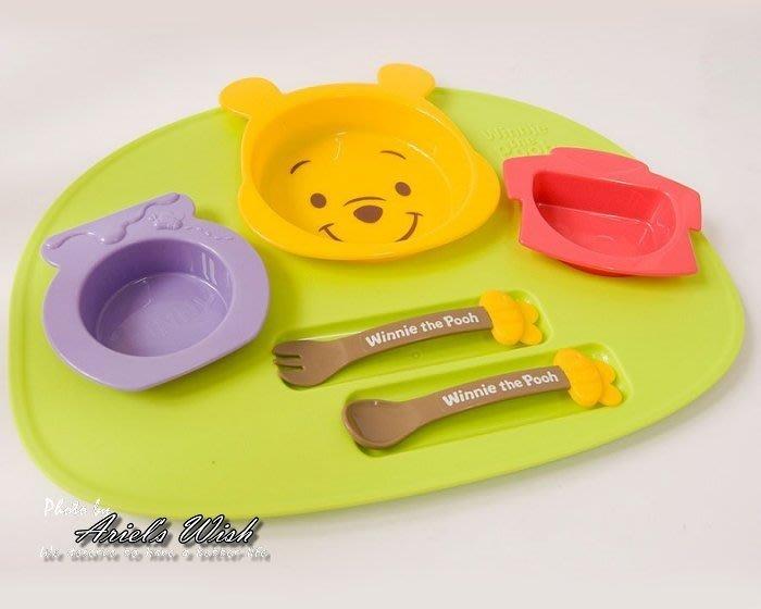 Ariel's Wish預購-迪士尼Disney阿卡將維尼蜂蜜離乳學習餐盤餐具湯匙叉子組BABY滿月彌月周歲禮-日本製-