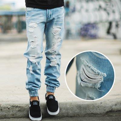 柒零年代【NB0256J】淺藍刷白重度抓破高磅牛仔褲縮口褲(UC2137)