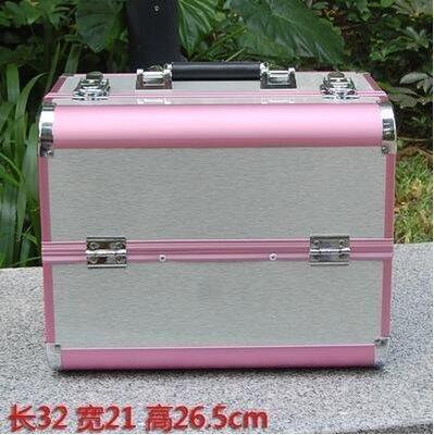 【優上】手提大號化妝箱專業化妝師紋繡工具箱彩妝箱大號粉色+銀拉絲