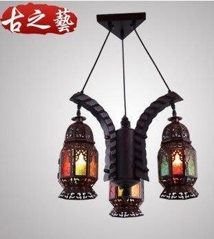 {美學}歐式地中海摩洛哥復古實木吊燈餐廳燈客廳燈燈書房燈簡約燈具MX-2143