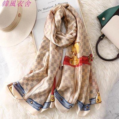 歐美新款春秋季仿真絲圍巾格子長款披肩兩用冬保暖圍脖女