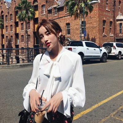 2018新款韓版雪紡衫蝴蝶結上衣超仙甜美仙女洋氣小衫長袖春秋襯衣