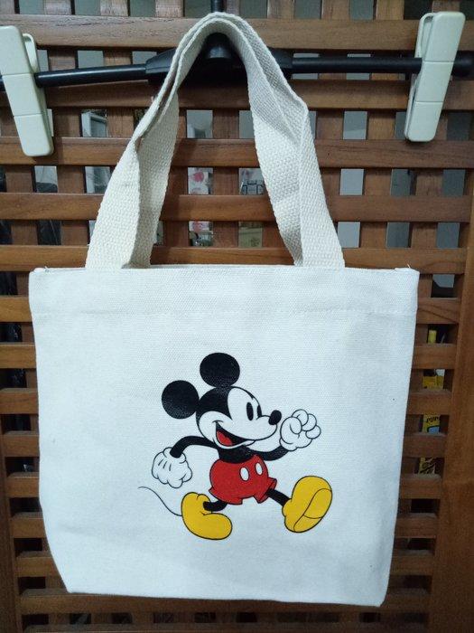 天使熊雜貨小舖~日本帶回迪士尼米奇帆布手提袋  全新現貨