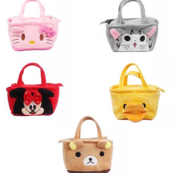 可愛Kitty貓飯盒袋日韓兒童卡通手提水壺袋便當袋毛絨手拎小飯包