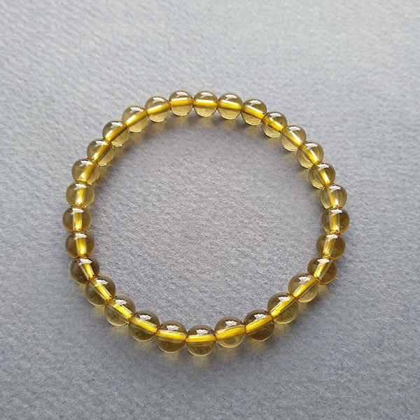 ☆采鑫天然寶石☆ ~小金金~頂級天然無處理黃水晶圓珠手鍊~巧緻款~5.7mm~