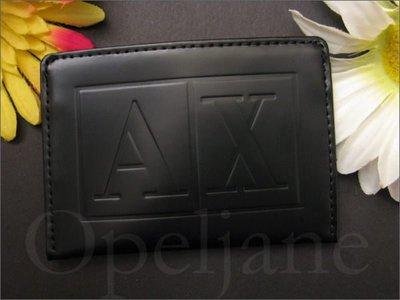 真品 A|X Armani Exchange AX 黑色真皮名片夾 夾悠遊卡夾 車票夾 信用卡夾 可配同款皮夾 免運費