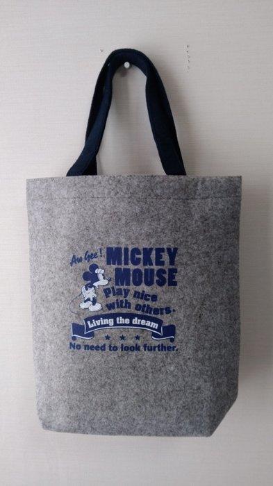 ☆Juicy☆日本 郵便局 郵局 迪士尼 米奇 米老鼠 灰色 毛氈 托特包 水桶包 手提包 午餐袋 3245