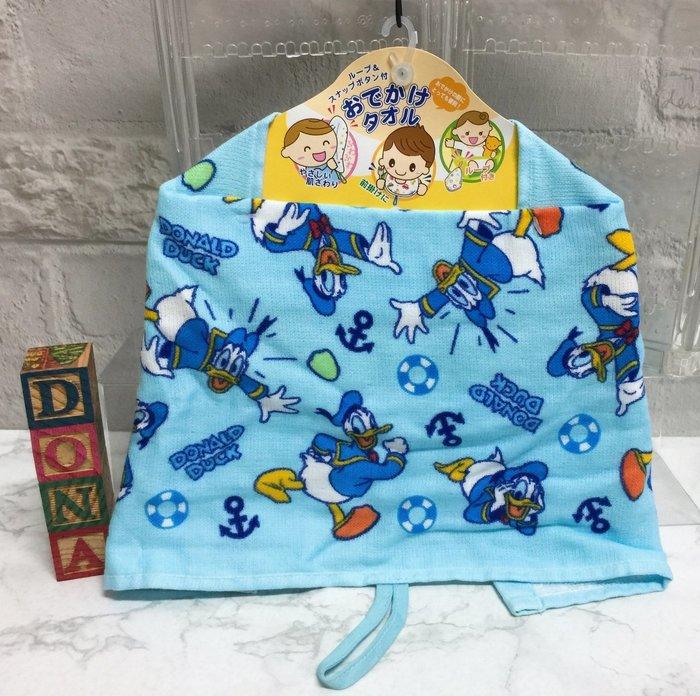 【Dona日貨】日本正版 迪士尼 唐老鴨 船錨救生圈 滿版 (外出孩童用)圍兜兜/口水巾(附吊帶,多功用毛巾) C71
