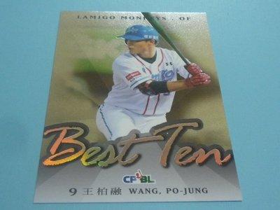 【2017發行】Lamigo棑猿~王柏融(最佳十人卡-外野手) 2016中華職棒27年度球卡 BT07