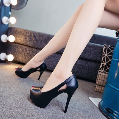 朵朵韓國鞋專賣~2021春夏高跟鞋10cm夜場防水臺性感細跟職業黑色小碼32魚嘴單鞋女