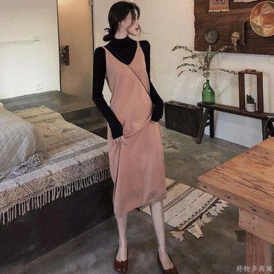 好物多商城 秋裝新款高領打底衫+吊帶針織連衣裙長裙兩件套時尚套裝女裝