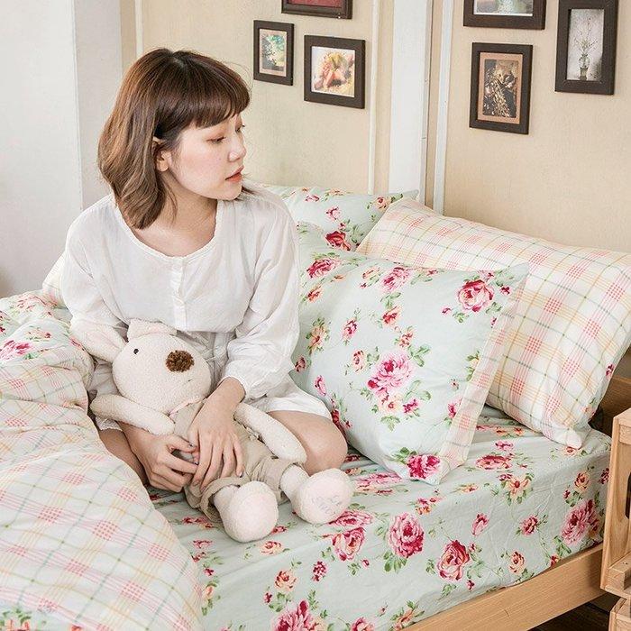 床包 / 單人【玫瑰粉格】含一件枕套  100%精梳棉  戀家小舖台灣製AAS101