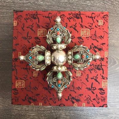 藏傳 法器 掐絲銀器 十字金剛杵 銀飾