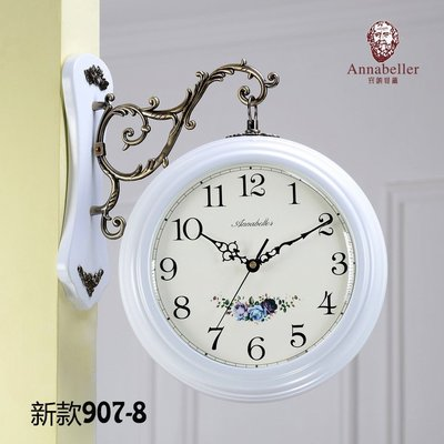 歐式雙面掛鐘現代簡約田園兩面鐘錶時尚藝術客廳時鐘靜音牆壁掛表 純金屬支架 木質板材質