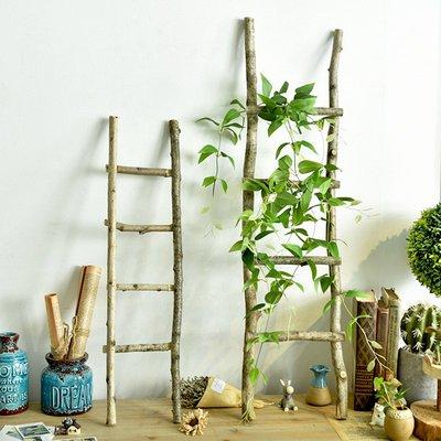 裝飾擺件 果盤 托盤 收納筐 筆筒 鄉村復古實木手工樓梯場景裝飾品布置道具天然梯子可掛可擺