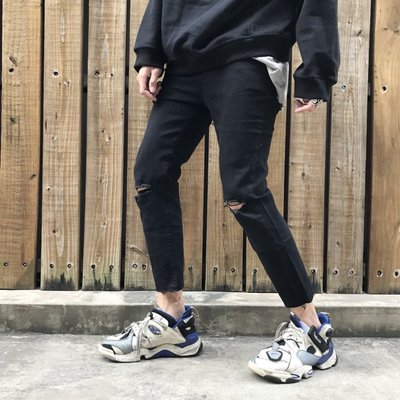 【inSAne】 RECORD 彈性 / 刀割 / 牛仔褲 / 破褲 / 黑色 / 九分款 S M L XL
