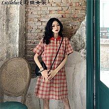 Littleluck~女裝2019夏季新款百搭寬松時尚格子短裙子洋裝古著感氣質香港Polo領連身裙