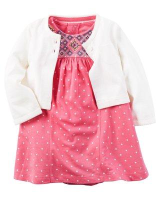 ~Carters~卡特 美國正品 可愛點點短袖洋裝 包屁連身洋裝  白色小外套 兩件組套裝