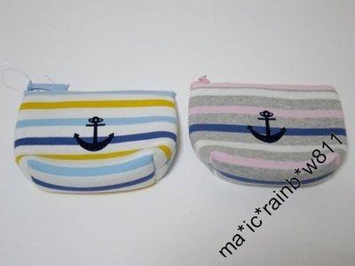 清貨價 $120 tsumori chisato 橫間 海錨圖案 化妝袋,雜物袋,小包 (灰色,白色) , 購自日本