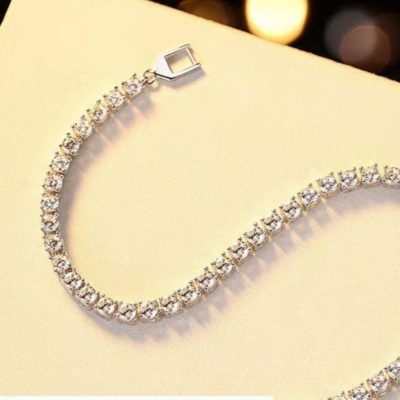 美國進口莫桑鑽石手鍊18K白金簡約單排鑽 可通過測鑽筆檢測及附保證書