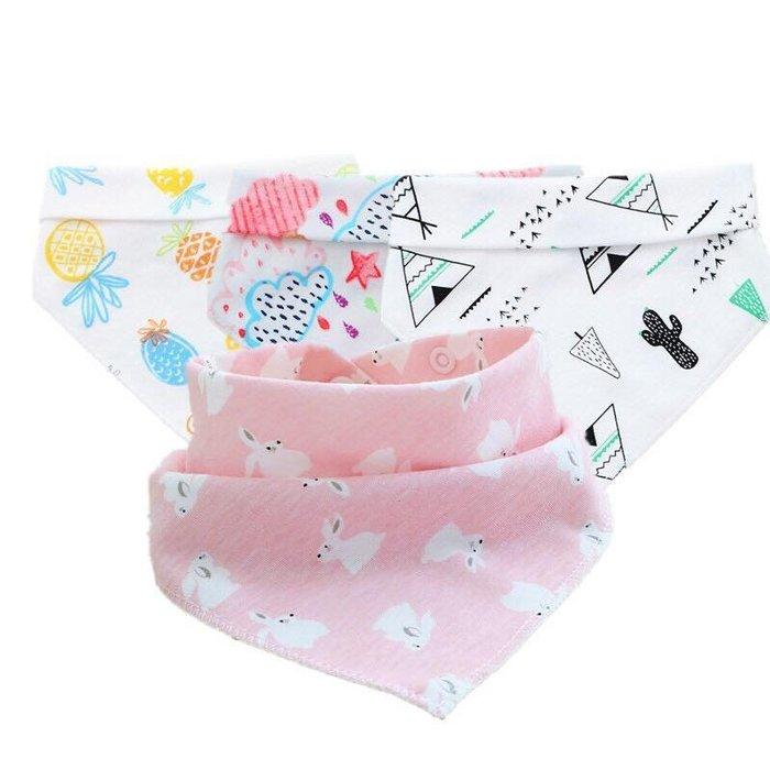 朵媽の店 買十送一柔軟舒適雙層精梳棉雙按扣三角巾 口水巾 圍嘴 圍兜