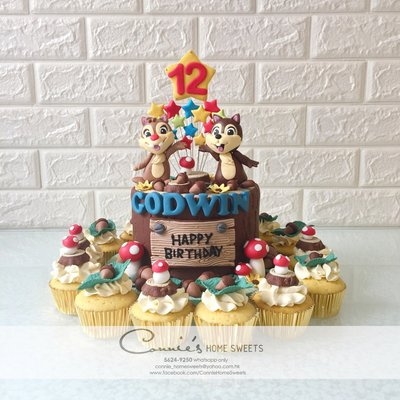 【Connie's Home Sweets】Chip 'n' Date Chip and Dale birthday cake 鋼牙與大鼻 生日蛋糕