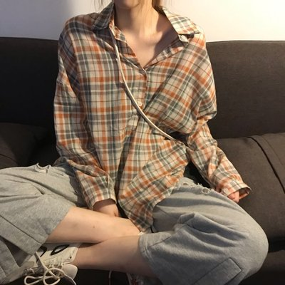 小香風 短袖T恤 時尚穿搭 韓版 前短后長BF風寬松薄款網紅時尚格子長袖襯衫女裝
