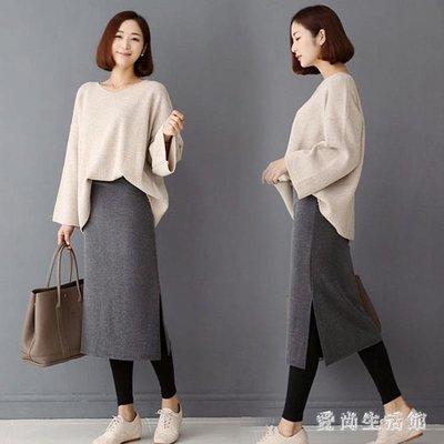 中大尺碼孕婦裙 半身裙秋冬季新款潮媽托腹中長款加絨加厚打底包臀裙 AW10776
