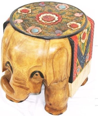 INPHIC-東南亞 家居 飾品 泰式飯店 會所 木雕 小傢俱 彩繪 大象凳