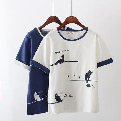 【8517】圓領  日系森女系小貓爪印印花短袖上衣☆*藍荳荳小舖*☆(現貨)