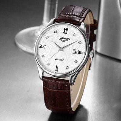 yes99buy加盟-瑞士冠琴皮帶手錶夜光男士腕表真皮石英手錶