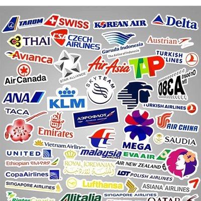 52家航空公司LOGO 商標貼紙 防水貼紙 筆電 行李箱 安全帽貼