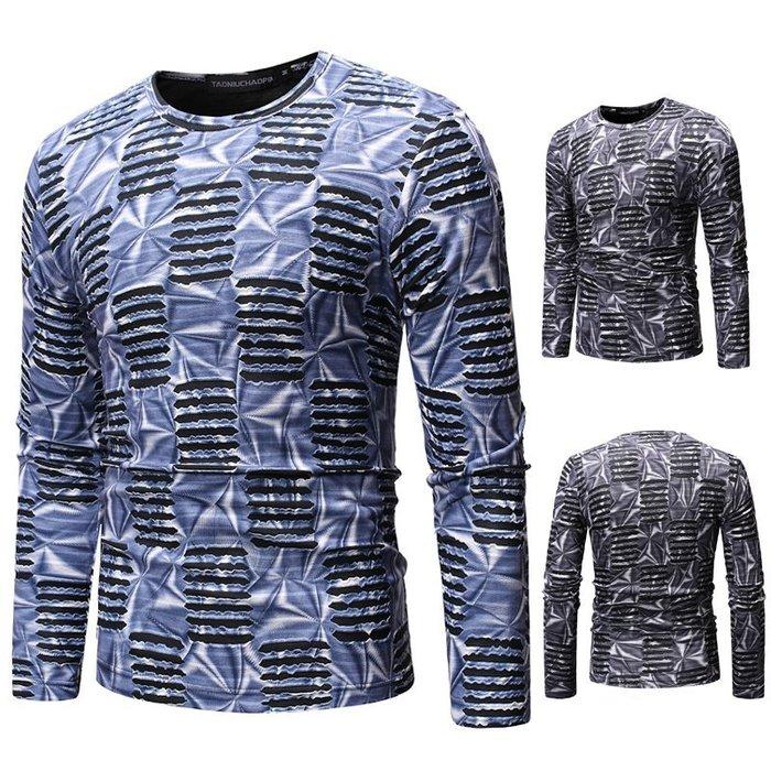 『潮范』  N4 男士外貿鏤空3D條紋T恤 嘻哈夜店長袖T恤 撞色T恤 打底衫 圖案T恤