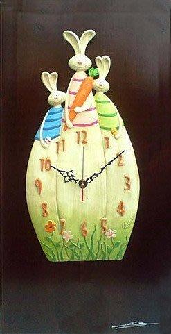 兔子家族 掛鐘 時鐘 藝術鐘